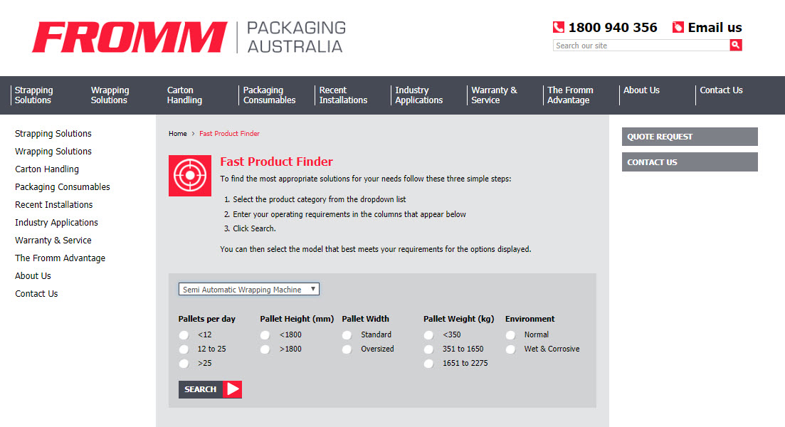 Fromm Fast product Finder